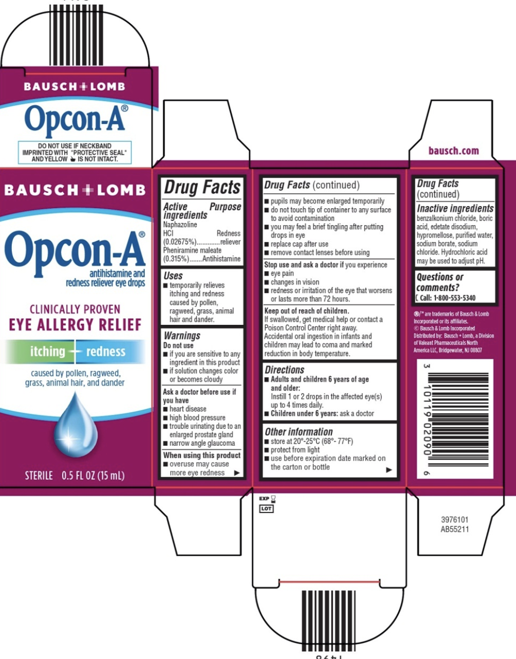 Bausch & Lomp Opcon-A Eye Allergy Relief Itching & Redness Reliever Eye  Drops   5 Fl Oz
